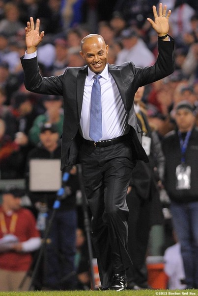 """Retired New York Yankees Closer Mariano Rivera is honored with the Commissioner's Historic Achievement Award during a pre-game ceremony before game two of the 2013 World Series between the Boston Red Sox and the St. Louis Cardinals Thursday, October 24, 2013 at Fenway Park in Boston, Massachusetts."""