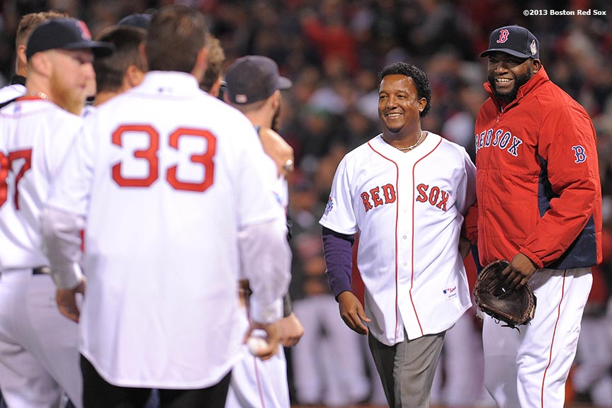 """Former Boston Red Sox pitcher Pedro Martinez is introduced alongside David Ortiz during a pre-game ceremony before game two of the 2013 World Series between the Boston Red Sox and the St. Louis Cardinals Thursday, October 24, 2013 at Fenway Park in Boston, Massachusetts."""