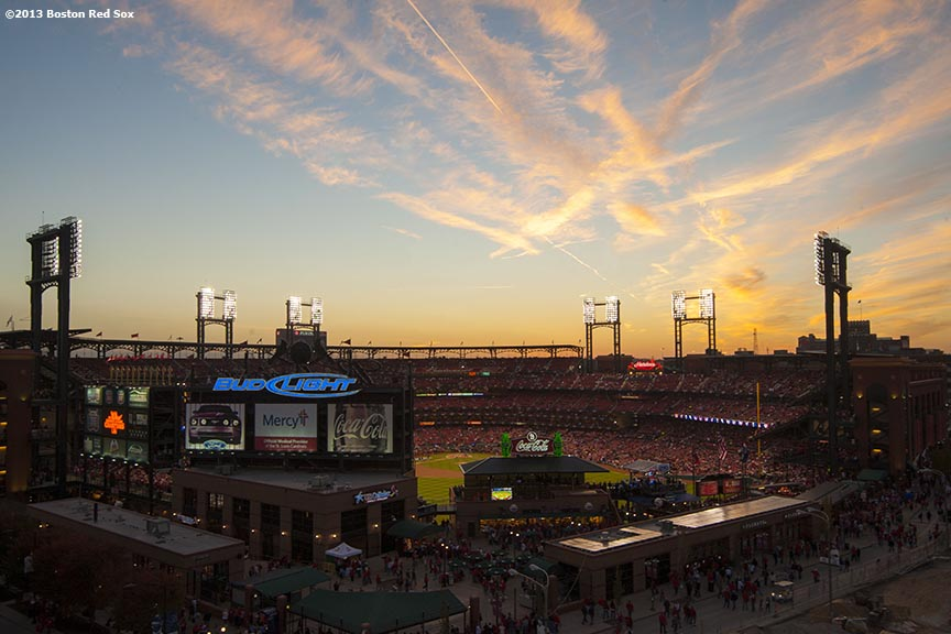 """The sun sets over Busch Stadium before game three of the 2013 World Series between the Boston Red Sox and the St. Louis Cardinals Saturday, October 26, 2013 at Busch Stadium in St. Louis, Missouri."""