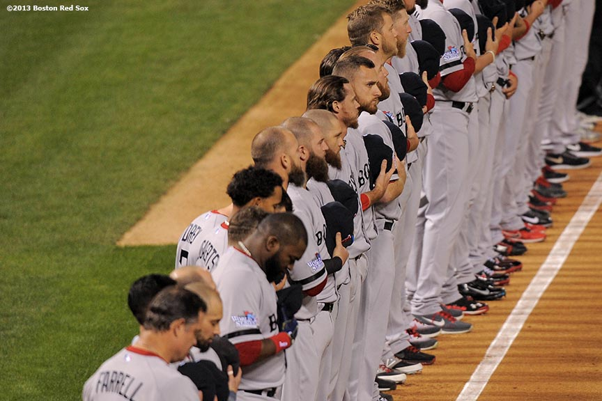 """Starting lineups are introduced during a pre-game ceremony before game three of the 2013 World Series between the Boston Red Sox and the St. Louis Cardinals at Busch Stadium Saturday, October 26, 2013 at Busch Stadium in St. Louis, Missouri."""