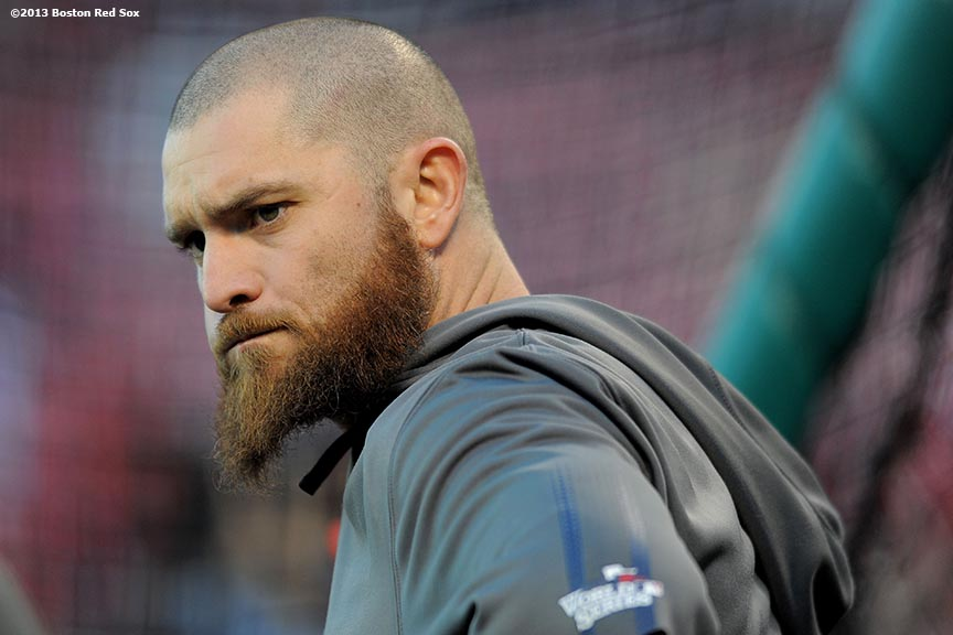 """Boston Red Sox left fielder Jonny Gomes looks on during batting practice before game four of the 2013 World Series against the St. Louis Cardinals Sunday, October 27, 2013 at Busch Stadium in St. Louis, Missouri."""