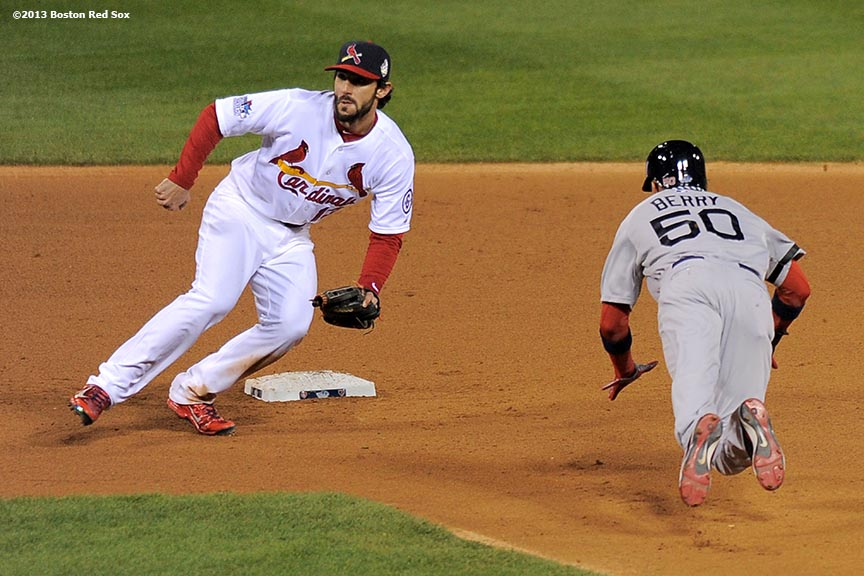 """Boston Red Sox pinch runner Quintin Berry steals second base during the eighth inning of game four of the 2013 World Series against the St. Louis Cardinals Sunday, October 27, 2013 at Busch Stadium in St. Louis, Missouri."""