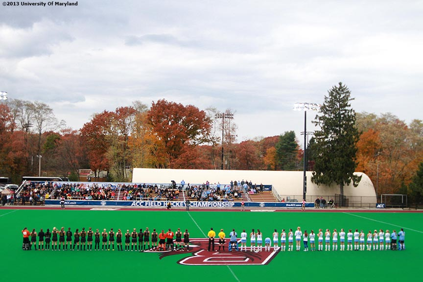 """The University of Maryland and the University of North Carolina Field Hockey teams are introduced before the ACC Field Hockey Conference Championship game Sunday, November 10, 2013 at Boston College in Newton, Massachusetts."""