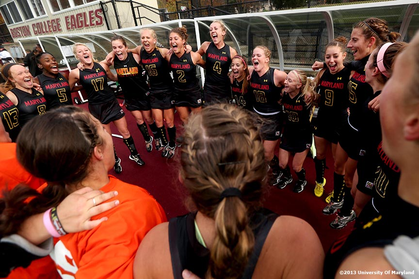"""The University of Maryland field hockey team cheers while in a huddle before the ACC Field Hockey Conference Championship game Sunday, November 10, 2013 at Boston College in Newton, Massachusetts."""