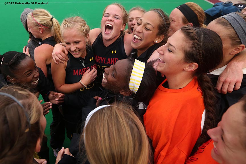 """University of Maryland field hockey players celebrate after defeating the University of North Carolina to win ACC Field Hockey Conference Championship game against the University of North Carolina Sunday, November 10, 2013 at Boston College in Newton, Massachusetts."""