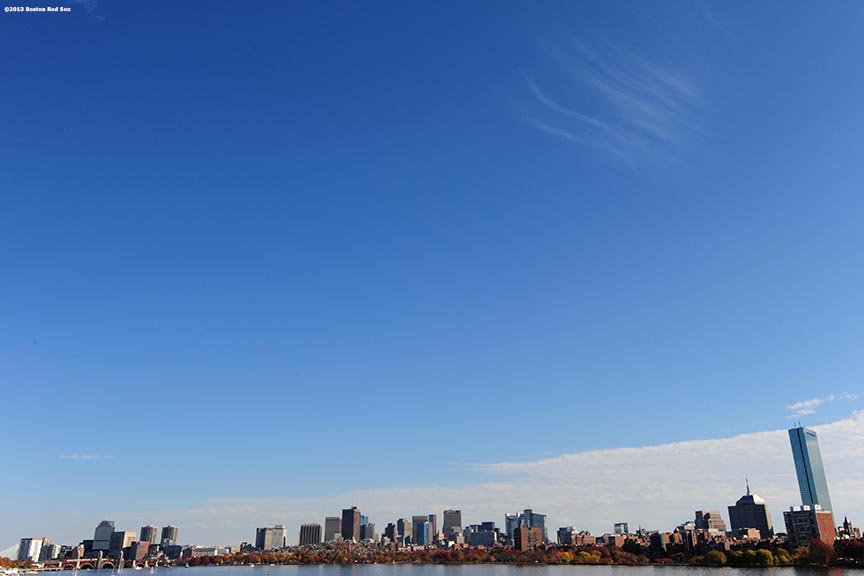 """The Boston Skyline is shown during the Rolling Rally World Series Championship Parade through downtown Boston, Massachusetts Saturday, November 2, 2013."""