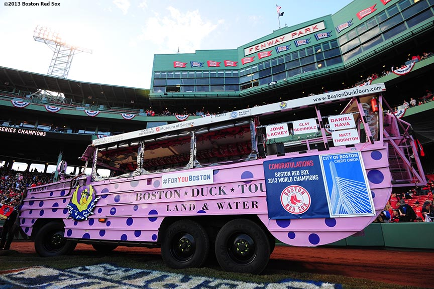 """A duck boat is parked behind home plate at Fenway Park before the Rolling Rally World Series Championship Parade through downtown Boston, Massachusetts Saturday, November 2, 2013."""