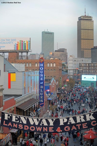 """Lansdowne Street is shown before game six of the 2013 World Series between the Boston Red Sox and the St. Louis Cardinals Wednesday, October 30, 2013 at Fenway Park in Boston, Massachusetts."""