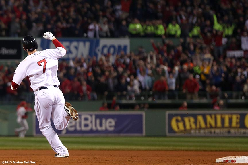 """Boston Red Sox shortstop Stephen Drew reacts after hitting a home run during the fourth inning of game six of the 2013 World Series against the St. Louis Cardinals Wednesday, October 30, 2013 at Fenway Park in Boston, Massachusetts."""