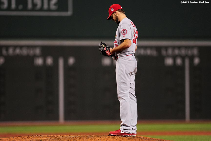 """St. Louis Cardinals pitcher Michael Wacha looks down during the fourth inning of game six of the 2013 World Series against the Boston Red Sox Wednesday, October 30, 2013 at Fenway Park in Boston, Massachusetts."""