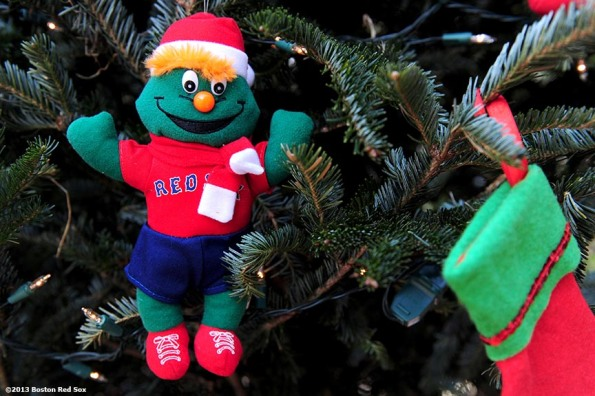 """A Red Sox themed christmas ornament is shown during the annual Christmas at Fenway celebration Saturday, December 14, 2013, which featured speaking appearances and autograph sessions with players and coaches, holiday themed attractions and decorations, and opportunities for fans to purchase tickets for the 2014 season."""