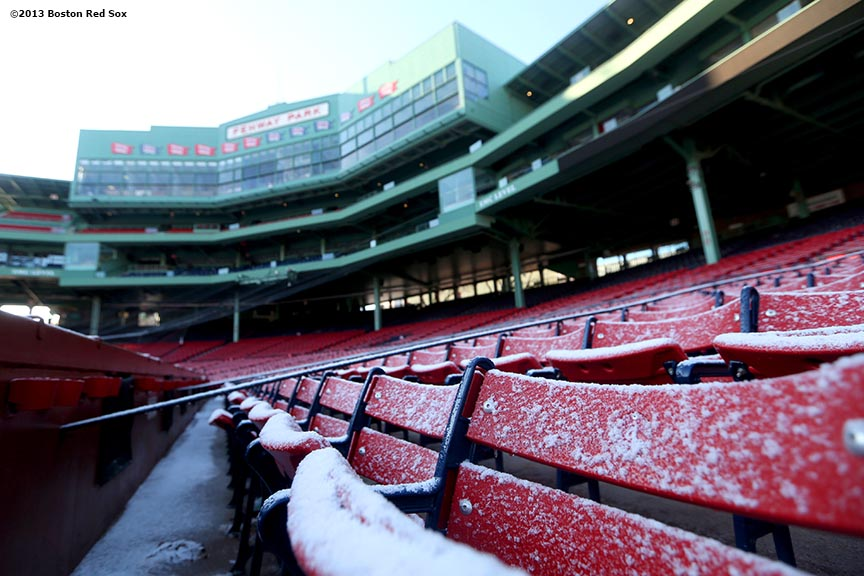 """""""Frost-covered seats are shown before the first day of Frozen Fenway 2014 at Fenway Park in Boston, Massachusetts Friday, December 27, 2013."""""""