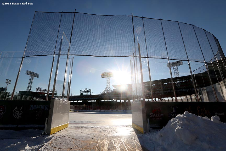 """The skating rink is shown before the first day of Frozen Fenway 2014 at Fenway Park in Boston, Massachusetts Friday, December 27, 2013."""