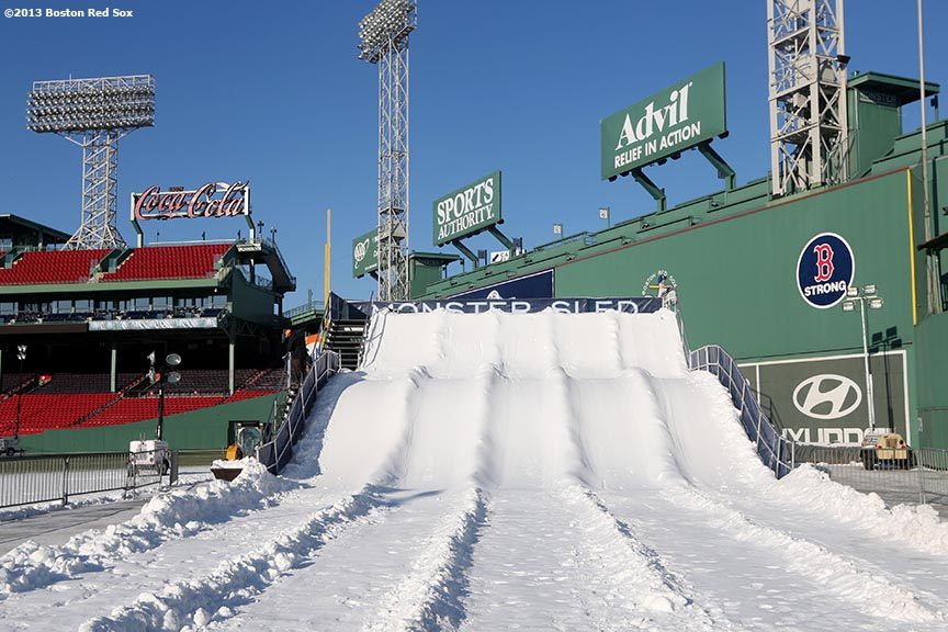 """The Monster Sled sledding course is shown before the first day of Frozen Fenway 2014 at Fenway Park in Boston, Massachusetts Friday, December 27, 2013."""