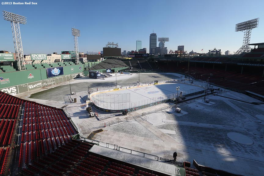 """""""The skating rink is shown before the first day of Frozen Fenway 2014 at Fenway Park in Boston, Massachusetts Friday, December 27, 2013."""""""