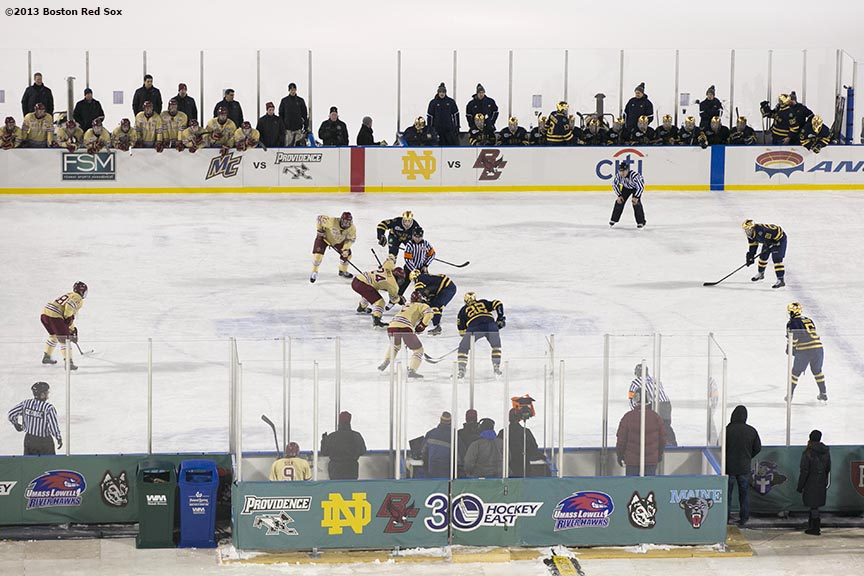 """Boston College plays Notre Dame during a game against at Frozen Fenway Saturday, January 4, 2014 at Fenway Park in Boston, Massachusetts."""