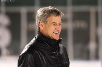 """Former Boston Bruins player Bobby Orr skates during an open rink session at Frozen Fenway Thursday, January 9, 2014 at Fenway Park in Boston, Massachusetts."""
