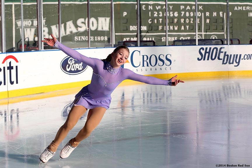 """2014 US Junior Ladies Champion Amber Glen performs during a figure skating showcase at Fenway Park as part of Frozen Fenway 2014 Monday, January 13, 2014 in Boston, Massachusetts."""