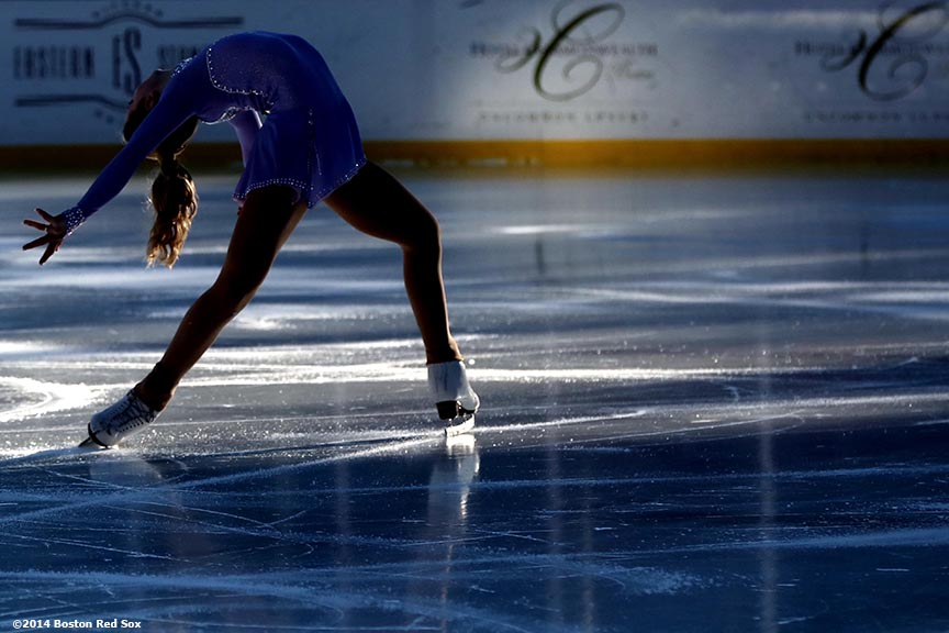 """2014 US Junior Ladies Champion Amber Glenn performs during a figure skating showcase at Fenway Park as part of Frozen Fenway Monday, January 13, 2014 in Boston, Massachusetts."""