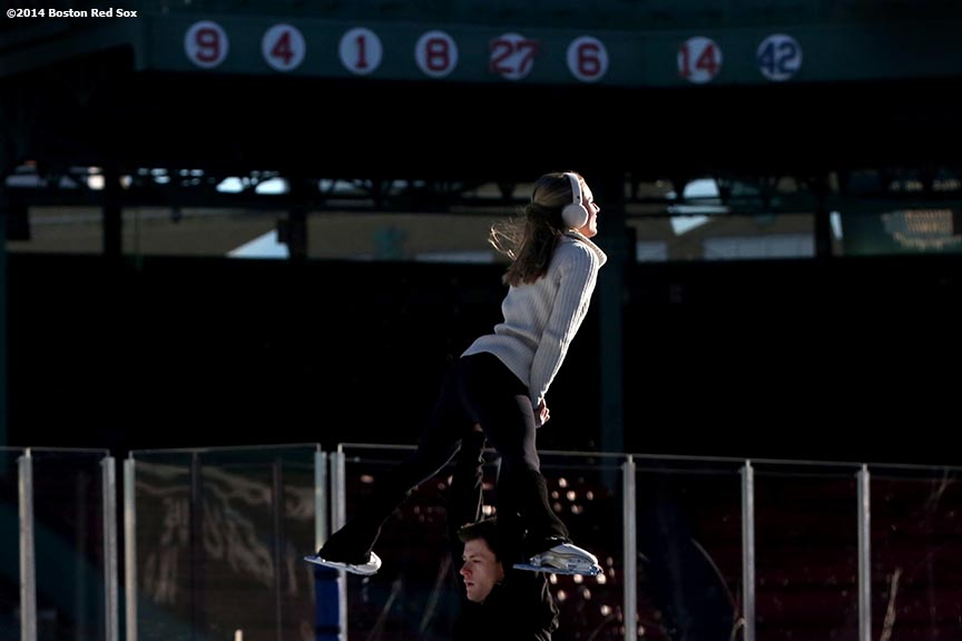 """2014 US Senior Pairs Competitors Alexandria Shaughnessy and Jimmy Morgan perform during a figure skating showcase at Fenway Park as part of Frozen Fenway Monday, January 13, 2014 in Boston, Massachusetts."""