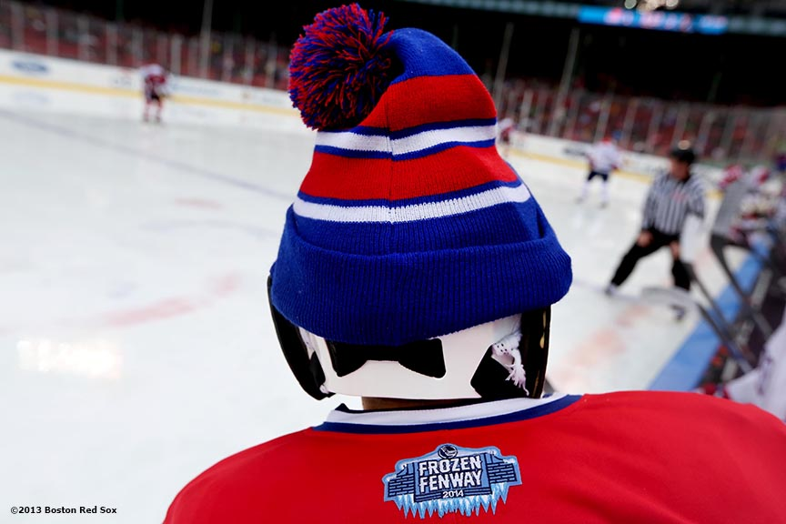 """A University of Massachusetts Lowell goalie's hat is shown during a game against Northeastern University at Frozen Fenway Saturday, January 11, 2014 at Fenway Park in Boston, Massachusetts."""