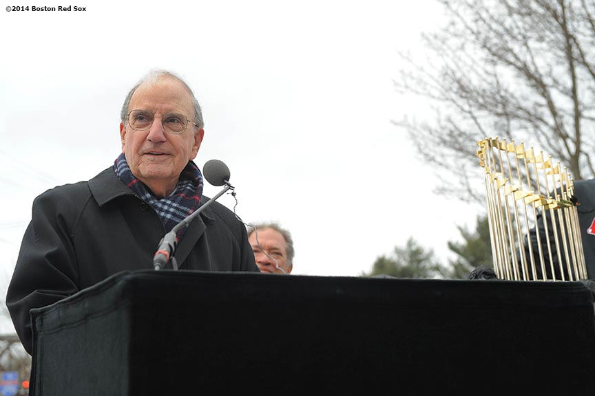 """Former Senator of Maine George Mitchell gives remarks during an appearance at Hadlock Field, home of the Portland Sea Dogs, as part of a World Series trophy tour throughout Maine Saturday, January 25, 2014 in Portland, Maine."""