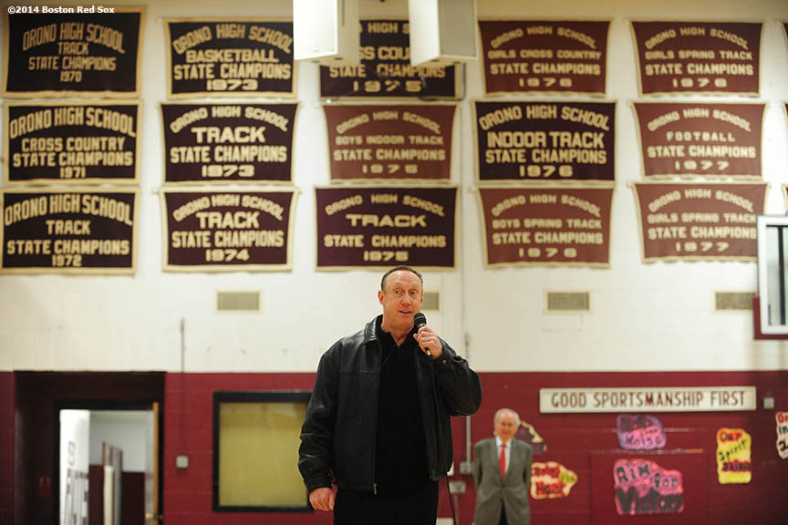 """Boston Red Sox third base coach Brian Butterfield gives remarks at Orano High School, his Alma Mater, in Orono, Maine Sunday, February 26, 2014 as part of a World Series trophy tour throughout Maine."""