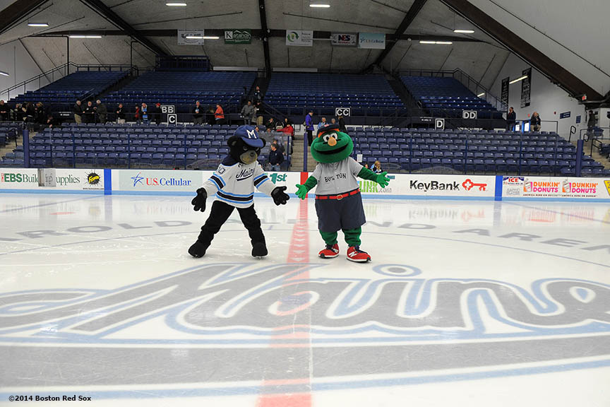"""Boston Red Sox mascot Wally the Green Monster poses with University of Maine mascot Bananas during an appearance at University of Maine's Alfond Arena in Orono, Maine Sunday, February 26, 2014 as part of a World Series trophy tour throughout Maine."""