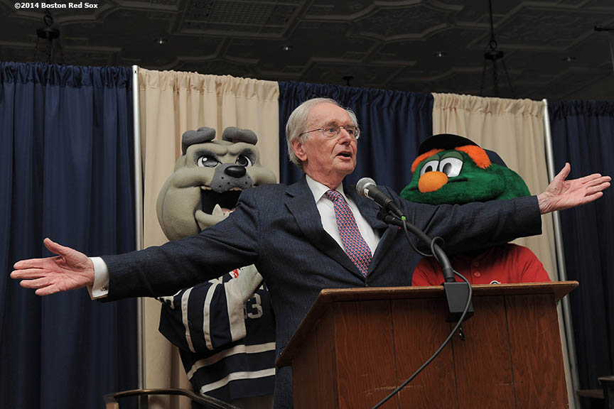"""Boston Red Sox poet laureate and public address announcer Dick Flavin gives remarks during an appearance at Yale Law School at Yale University in New Haven, Connecticut Monday, February 27, 2014  as part of a World Series trophy tour through Connecticut."""