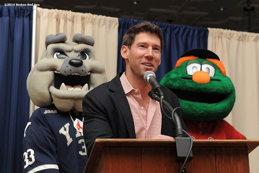 """Boston Red Sox pitcher Craig Breslow gives remarks during an appearance at Yale Law School at Yale University, his Alma Mater, in New Haven, Connecticut Monday, February 27, 2014  as part of a World Series trophy tour through Connecticut."""