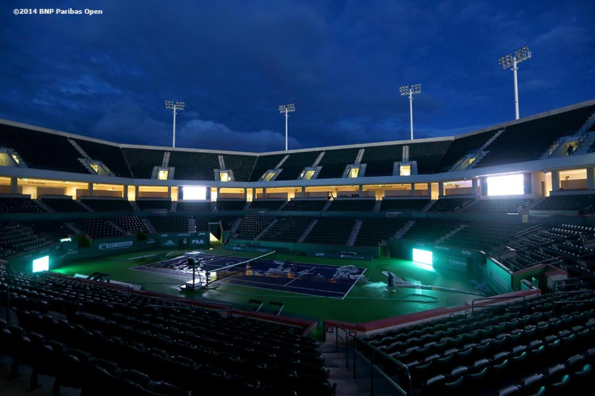 """The newly constructed Stadium 2 at the Indian Wells Tennis Garden is shown during the McEnroe Challenge for Charity VIP Draw Ceremony in Palm Springs, California Friday, February 28, 2014."""
