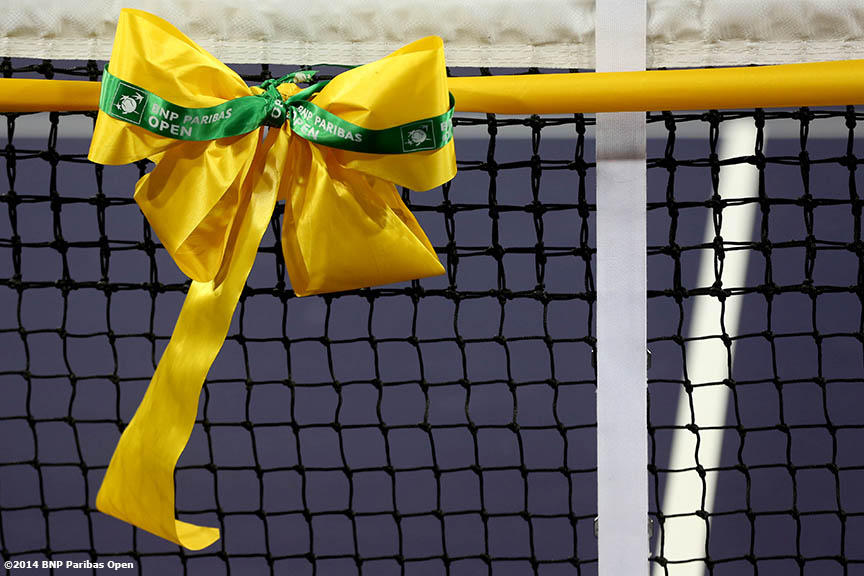 """A ribbon is shown in the newly constructed Stadium 2 at the Indian Wells Tennis Garden before the McEnroe Challenge for Charity presented by Esurance Saturday,  March 1, 2014 in Indian Wells, California."""