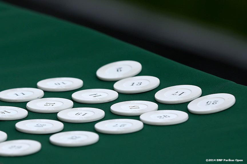 """Draw chips are shown during the 2014 BNP Paribas Open WTA Draw Ceremony at the Indian Wells Tennis Garden in Indian Wells, California Monday, March 3, 2014."""