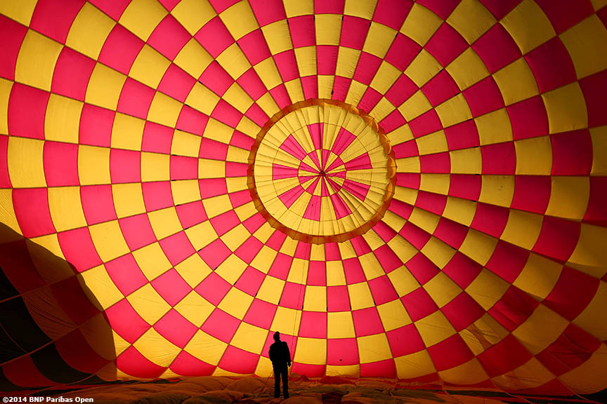 """A hot air balloon is set up before a ride above the Coachella Valley with WTA player Lucie Safarova in Indian Wells, California Monday, March 3, 2014."""