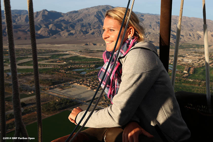 """WTA player Lucie Safarova takes a ride in a hot air balloon above the Coachella Valley in Indian Wells, California Monday, March 3, 2014."""