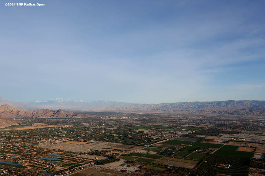"""An aerial view of California's Coachella Valley is shown from a hot air balloon Monday, March 3, 2014."""