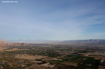 """""""An aerial view of California's Coachella Valley is shown from a hot air balloon Monday, March 3, 2014."""""""