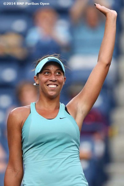 """Madison Keys waves to the crowd after defeating Tsvetana Pironkova at the Indian Wells Tennis Garden in Indian Wells, California Wednesday, March 5, 2014."""