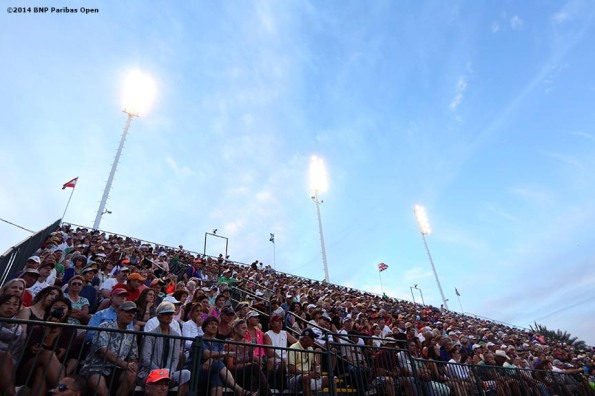 """Fans pack Stadium 3 during a first round doubles match between Jonathan Marray and Andy Murray and Gael Monfils and Juan Monaco in Indian Wells, California Friday, March 7, 2014."""