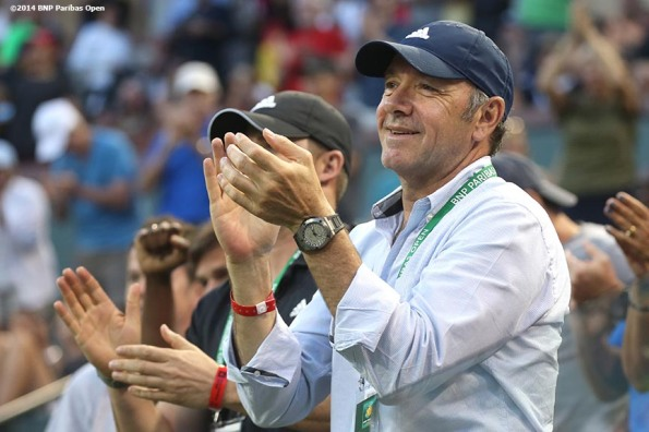 """Actor Kevin Spacey attends a match between Stanislas Wawrinka and Ivo Karlovic Saturday, March 8, 2014 in Indian Wells, California."""