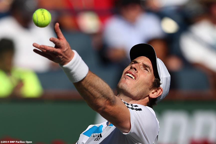 """Andy Murray serves during a match against Lukas Rosol at theBNP Paribas Open Saturday, March 8, 2014 in Indian Wells, California."""