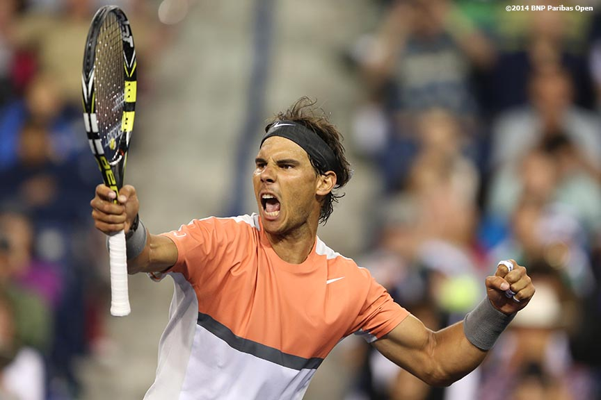 """Rafael Nadal reacts defeating Radek Stepanek in the second round of the 2014 BNP Paribas Open Saturday, March 8, 2014 in Indian Wells, California."""