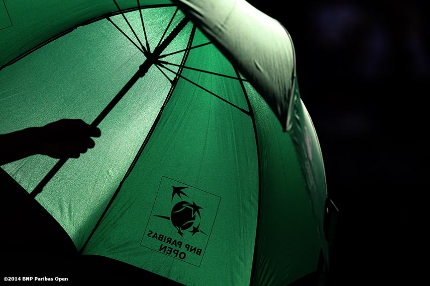 """An umbrella is shown at the BNP Paribas Open in Indian Wells, California Sunday, March 9, 2014."""