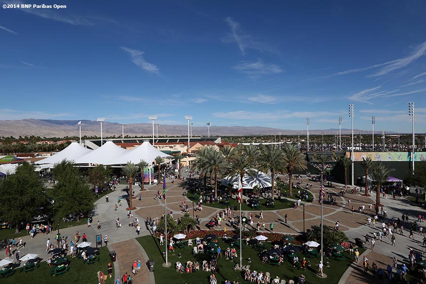 """The grounds of the Indian Wells Tennis Garden are shown at the 2014 BNP Paribas Open in Indian Wells, California Sunday, March 9, 2014."""