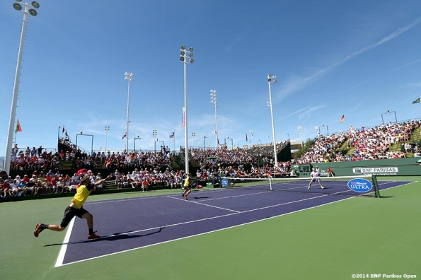 """onathan Marray and Andy Murray play doubles agasint Alexander Peya and Bruno Soares at the 2014 BNP Paribas Open in Indian Wells, California Sunday, March 9, 2014."""