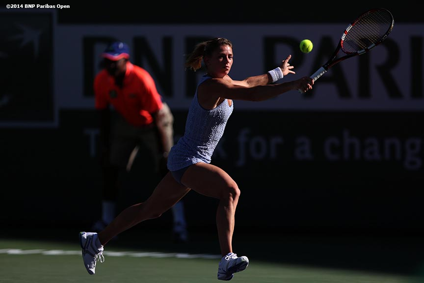 """Camila Giorgi plays Maria Sharapova in the third round at the BNP Paribas Open Monday, March 10, 2014 in Indian Wells, California."""