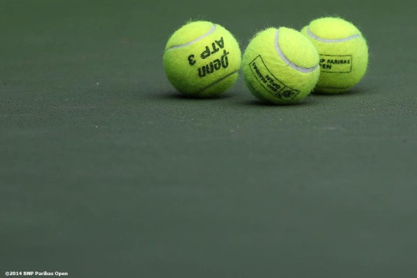 """BNP Paribas Open tennis balls are shown at the Indian Wells Tennis Garden Tuesday, March 11, 2014 in Indian Wells, California."""