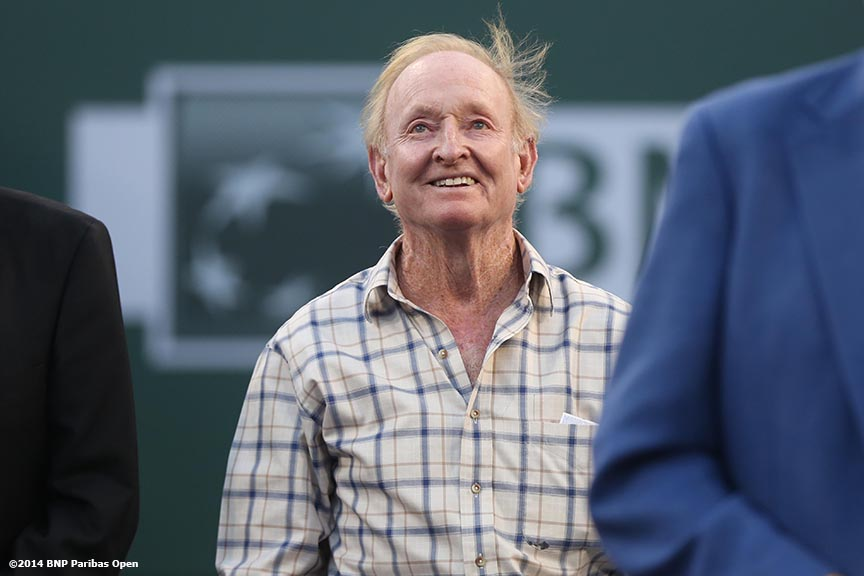 """Rod Laver attends an International Tennis Hall of Fame ring ceremony for inductee Charlie Pasarell at the Indian Wells Tennis Garden Thursday, March 13, 2014 in Indian Wells, California."""