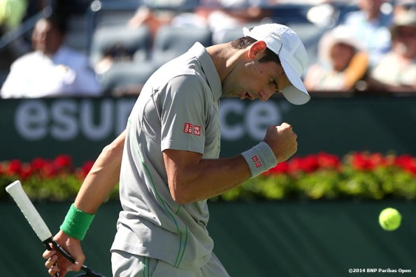 """Novak Djokovic reacts after winning a point against Julien Benneteau in the quarterfinal of the 2014 BNP Paribas Open Friday, March 14, 2014 in Indian Wells, California."""