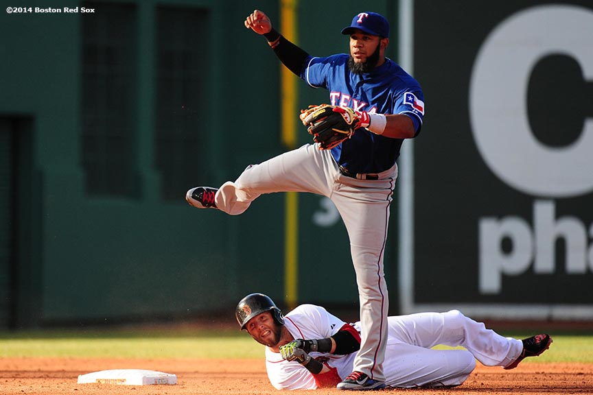 """""""Boston Red Sox second baseman Dustin Pedroia is tagged out in a double play by shortstop Elvis Andrus during the third inning of a game against the Texas Rangers at Fenway Park in Boston, Massachusetts Wednesday, April 9, 2014."""""""